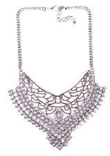 Bejewelled Princess Diamanté Embellished V- Shape Statement Bib Necklace(Ns12)