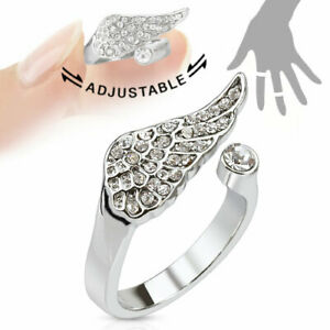 Rhodium Plated Adjustable Mid Ring Toe Ring Angel Wing Multi Paved Gems Mid-Ring