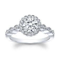 Fine 14k White Gold 1.35 Ct Round Diamond Rings Real Moissanite Engagement Ring