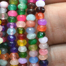 2x4mm Faceted Rondelle Multicolor Candy Jade Spacer Gemstone Beads Strand 15""