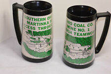 2 VINTAGE SOUTHERN OHIO COAL MINE CO MUGS! MARTINKA MINE No 1! INSULATED CUPS!