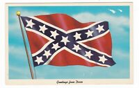 GREETINGS FROM DIXIE CIVIL WAR FLAG VINTAGE POSTCARD MILITARY OLD NICE !!!