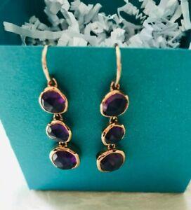 NWOT Monica Vinader Amethyst 18K Gold Vermeil Earrings