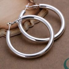 Round Hoop Earrings For Women E149 Fashion 925Sterling Solid Silver Jewelry Big