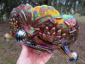 Fenton THISTLE ANTIQUE CARNIVAL GLASS FTD BANANA BOAT~PURPLE~TOUGH COLOR!!!
