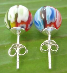 100% 925 sterling silver 10mm BALL MURANO Studs Earrings GIRL- WOMEN
