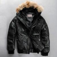 Real leather jacket men Outdoor winter coat Stylish Avirex fly down jacket Hood2