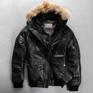 Real leather jacket men Outdoor winter coat Stylish Avirex fly down jacket Hood