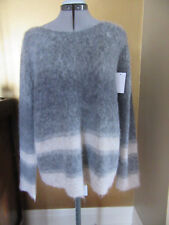 NWT Eileen Fisher Stripe Mohair Alpaca Blend Sweater Pullover, Size Large