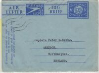 South Africa 6d Air Letter To Northampton Postal History   J6082