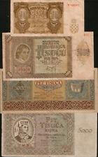 Croatia lot 4 banknotes 1941-1943. P-4a, P-5a, P-12a, P-14a. VG/F.