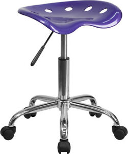 Vibrant Violet Tractor Seat and Chrome Stool - LF-214A-VIOLET-GG