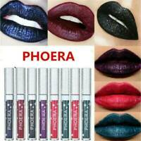 PHOERA Metallic Liquid Lipstick Matte Lip Gloss Makeup Glitter Colors Waterproof