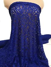 """STRETCH LACE FABRIC ROYAL BLUE 58/60""""  BY THE YARD /PAGEANT FORMAL DRESS"""