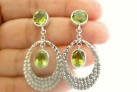 Green Peridot 2-Stone Hammered Disc 925 Sterling Silver Dangle Drop Earrings