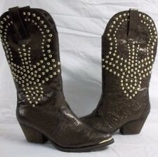 Reba Size 6.5 Biker Brown Studded Leather New Womens Shoes Cowboy Western Boots