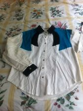 ROUGHRIDER CICRLE T L/S WESTERN SHIRT WHITE Turquoise Black Rockabilly M (L8-1.5