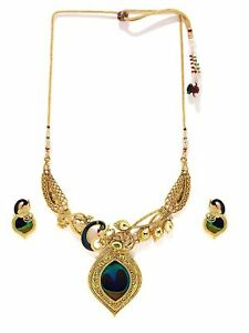 Indian Women Gold Plated Peacock Pendent Necklace Set Fashion Wedding Jewelry