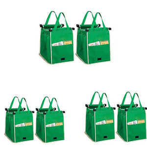 6PCS Foldable Shopping Bags  Reusable Eco Grocery Cart Trolley Bag Handle