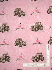 John Deere Fabric Pink I Heart JD Tractor Pink Paisley OOP HTF CP28316 ~ Yard