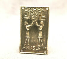 1948 Silver Norwegian Speider Girls Federation Tag Pin BORRE Landsleir Sterling