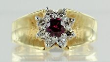 18ct Yellow Gold Ruby and Diamond Set Flower Style Dress Ring REF17