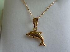 9ct catenina in oro giallo 45.7cm with a 9kt maltese delfino ciondolo pendente