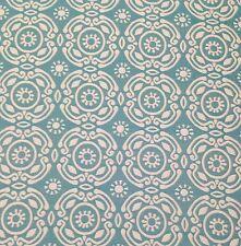 "ROBERT ALLEN SUNBURST CIRCLES SPA BLUE WHITE HEAVY JACQUARD FABRIC BY YARD 54""W"