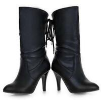 women's lace up high heel pointed toe mid-calf boots PU leather shoes plus size