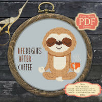 Lazy Sloth - Coffee Motivational Quotes - Modern Cross stitch PDF Pattern - 060