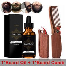 Beard Care Kit-Beard Oil Groom Beard Hair Growth Oil+Portable Wooden Pocket Comb