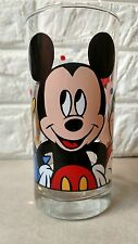 Vintage Walt Disney Mickey Mouse Minnie Mouse Donald Duck Clear 16oz glass
