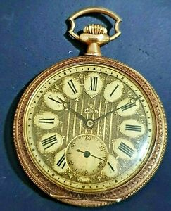 Unusual Rare Vintage Omega Pocket Watch 18k Gold EGYPTIAN REVIVAL DECORATED 48mm