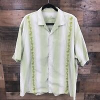 Tommy Bahama Men's Green & White Stripe Embroidered Silk Blend Button Up