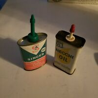 Vintage Singer & Necchi Sewing Machine Oil Can Lot of 2, Sewing Collectible
