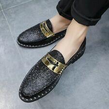 Fashion Men Slip on Pumps Breathable Shiny Nightclub PU Leather Shoes Loafers