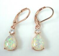 GORGEOUS WHITE  FIRE OPAL  ROSE GOLD LEVER BACK EARRINGS