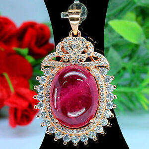 NATURAL 13 X 17 mm. CABOCHON RED RUBY & WHITE CZ PENDANT 925 STERLING SILVER