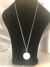 "banana republic Silver Tone White Stone Necklace 26"" Long"