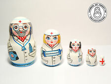 Doctor and Nurses Nesting Doll 5pcs, Matryoshka 4,4 in.