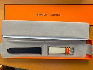 Apple Hermes Hermès 42mm 44mm Orange Craie Indigo Single Tour Leather Band ONLY
