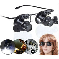 20X Magnifier Magnifying LED Light Eye Jeweler Watch Repair Glass Loupe Lens NT