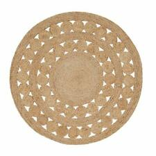 Rugs Reversible Various Size Natural Braided Jute Strip Round Area Rug Floor Mat