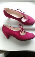 Hobbs Pink Suede 20s 30s Style Mary Jane Shoes Heels Size 5/38