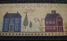 Multi-Colored Country House & Barn Primitive Border with Alphabet Stencil DC5025