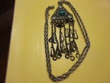 Vtg Art Decor Heavy Necklace W/Green Turquoise? Cabochon Stones Silver Tone #229