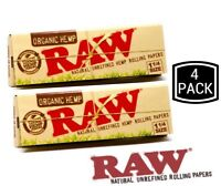RAW Organic 1 1/4 Rolling Paper - 4 PACKS - 1.25 Natural Cigarette Papers