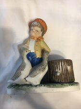 Verona Vergasi CMA Figurine Candle Holder Boy Two Ducks Comar Industries 1979