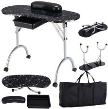 Manicure Nail Table Portable Station Desk Spa Beauty Salon Equipment - Black
