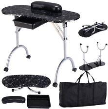 Manicure Nail Table Portable Station Desk Spa Beauty Salon Equipment - Black